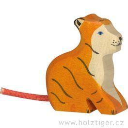 Malý sedící tygřík – vyřezávané dřevěné zvířátko