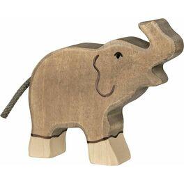 Slůně sezvednutým chobotem – dřevěná hračka