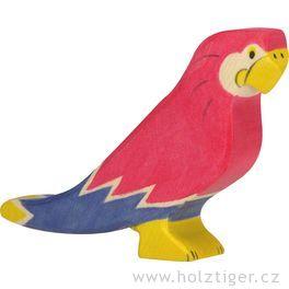 Papoušek – dřevěné zvíře