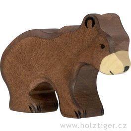 Medvěd hnědý, malý – dřevěné zvíře