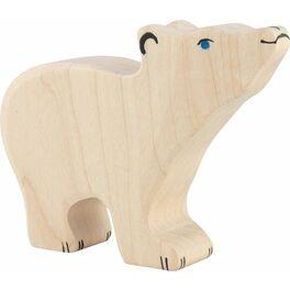 Lední medvídek sezvednutou hlavou – dřevěná hračka