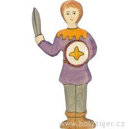 Panoš vefialové košili  – dřevěná vyřezávaná figurka