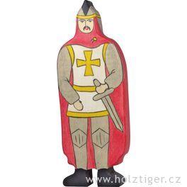 Rytíř včerveném plášti – vyřezávaná postavička zedřeva