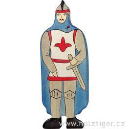 Rytíř vmodrém plášti – vyřezávaná postavička zedřeva