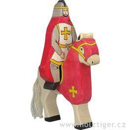Červený rytíř spláštěm, jedoucí nakoni (bez koně) – vyřezávaná postavička zedřeva