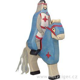 Modrý rytíř spláštěm, jedoucí nakoni (bez koně) – vyřezávaná postavička zedřeva