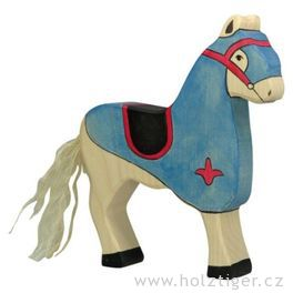 Turnajový kůň, modrý – vyřezávaná dřevěná figurka