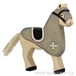 Turnajový kůň, černý – vyřezávaná dřevěná figurka