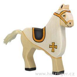 Turnajový kůň, bílý – vyřezávaná dřevěná figurka