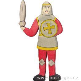 Rytíř bojující, červený – vyřezávaná dřevěná figurka