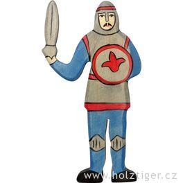 Rytíř bojující, modrý – vyřezávaná dřevěná figurka