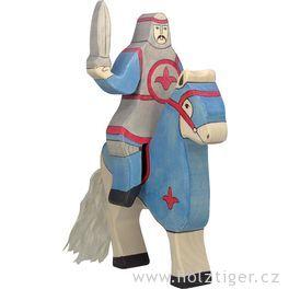 Modrý rytíř jedoucí nakoni (bez koně) – vyřezávaná dřevěná figurka