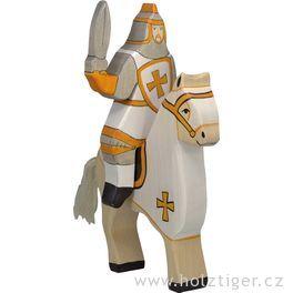 Turnajový rytíř, bílý (bez koně)  – vyřezávaná dřevěná figurka