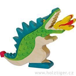 Drak, zelený – fantazijní dřevěná figurka