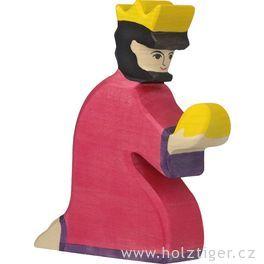 Baltazar (červený) – biblická dřevěná postava