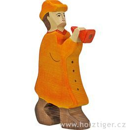 Pastýř sflétnou – biblická dřevěná postava