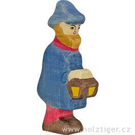 Pastýř slampou – biblická dřevěná postava