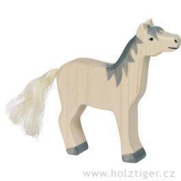Koník bílý sšedou hřívou, sezdviženou hlavou