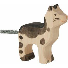 Kočička strakatá černobílá – dřevěná hračka